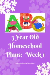 List of 3 Year Old Homeschool Plans Week 1