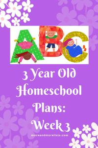 List of 3 Year Old Homeschool Plans Week 3