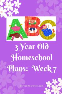 List of 3 Year Old Homeschool Plans Week 7
