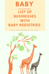 List of Places that have Baby Registries