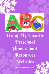List of My Favorite Homeschool Preschool Resources Websites